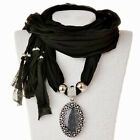 Fashion Women Scarves Gem Pendant Scarf With Pendant Tassels Wraps Party Wedding