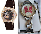 Minnie Mouse Brown Crystal Accent or Silver Bracelet Mother Of Pearl-Wrist Watch