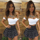 USA Women Short Sleeve Bodycon Casual Party Evening Cocktail Short Mini Dress