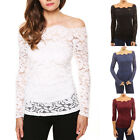 2016 Women New LACE Boat Neck SEXY Long Sleeve Shirt Casual Blouse Slim Fit Top