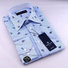 Brand New Mens Formal, Smart White with Blue Stripes Slim Fit Casual Shirt