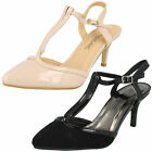 """Ladies Anne Michelle T-Bar Court Shoes with 3"""" Heel F9888"""