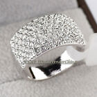 B1-R457 Fashion CZ 12mm Silver Starred Band Ring 18KGP Crystal Size 5.5-9