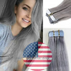 Silver Grey 16''-20'' Tape In Skin Weft 100% Remy Human Hair Extensions US Ship