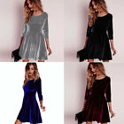 Womens Long Sleeve Velvet Ruffle Clubwear Evening Party Pleated Short Mini Dress