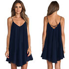 New Women V-Neck Spaghetti Strap Casual Summer Dress Cocktail Party Mini Skirt