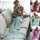 Mermaid Tail Sofa Blanket Super Soft Warm Hand Crocheted Knitting For Adult Kids
