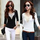 Women V-neck Long Sleeve Ladies T-Shirt Top Stretch Bottoming Shirt Blouse