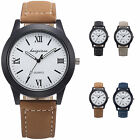 Fashion Men's Women's Roman Numerals Quartz Analog Leather Sport Wrist Watch