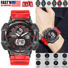 OHSEN Men's 7 LED Backlight Stainless Steel Sport Quartz Wrist Watch Waterproof