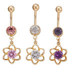 Navel Belly Glamour Button Ring Crystal Flower Dangle Body Piercing Jewelry