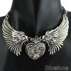 Women's Fashion Rhinestone Heart Angel Wings Statement Necklace Jewelry Dazzling