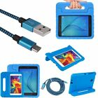 Rugged Handle Kids Case + Braided Data Cable for Samsung Galaxy Tab A 7.0 4 8.0