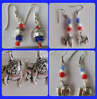 Aussie Rules Aust Football Western Bulldogs red blue & white, bulldog earrings