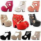 WOMENS CHUNKY CUT OUT WEDGE HIGH HEEL PLATFORM FAUX SUEDE SANDALS LADIES SHOES