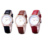 New Arrival Leather Strap Golden Case Women Date Analog Quartz Wrist Watch