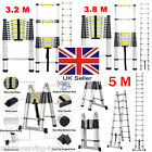 3.2M/3.8M/5M Heavy Duty Multi-Purpose Aluminum Fold Telescopic Extendable Ladder