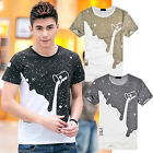 Mens Fashion Milk Poured Pattern Printed Short Sleeve Round Neck T-shirt Sightly