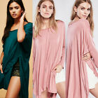 Overiszed Cotton Loose Long Sleeve Women's Batwing High Low T-shirt Top Tee Slit