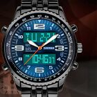 SKMEI Stainless Steel Band LED Day Date Quartz Analog Digital Mens Sport Watch