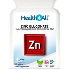 Zinc Gluconate 87mg Tablets | 100% RDA | 10mg Elemental ZINC | 100% VEGAN