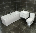 Douro Bathroom Suite Wall Hung Vanity Unit Basin Sink Drawer + Toilet Options