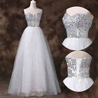 Sexy Tulle Sequined Wedding Formal Ball Gown Pageant Bridesmaid Party Prom Dress