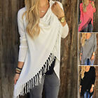 Women's Loose Long Sleeve Cotton Casual Blouse Shirt Tunic Tops Poncho Sweater L