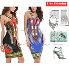 Women Traditional African Print Dashiki Bodycon Sexy Short Sleeve Halter Dress