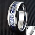 8mm Engraved Blue Celtic Dragon Tungsten Ring Mens Jewelry Wedding Band