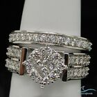 14k White Gold Princess Cut Ladies Diamond Bridal Ring Wedding Set 1.90 Carat