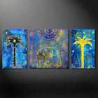 ELEPHANT PALM TREES BLUE 3 PANELS WALL ART CANVAS PRINT PICTURE READY TO HANG