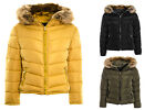 Women's Puffer Padded Bomber Jacket Ladies Coat Quilted Hooded Padded Jacket