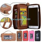 Retro Premium Leather Card Slot Double Zipper Wallet Combo Case Cover for iPhone