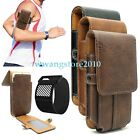 Premium Leather Card Slot Belt Bag Sport Armband Case Holster for Cell Phone
