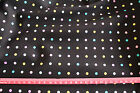 blue pink yellow spot dot on black fabric / 112cm wide cotton poplin material