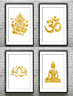 Yoga Collection Buddha Om Lotus Genesha Gold Foil Print Foil Rose Gold Wall Art