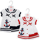 Baby Girls Button Ribbon Dress + Cap New Born Baby Fashion Dresses UK 0-9 Months