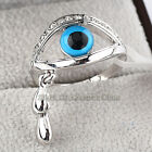 A1-R229 Fashion Evil Eye Ring 18KGP Rhinestone Crystal Size 5.5