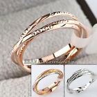 A1-R206 Fashion 1.5mm Width Patterned Triple Band Rolling Ring 18KGP Size 5.5-9