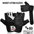 Weight Lifting Body Building Leather Gloves Long Wrist Strap Gym Fitness Gloves