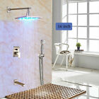 Brushed Nickel 16''LED Rainfall Shower Faucet W/Hand Sprayer Tub Spout Mixer Tap