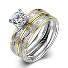 Stainless Steel Bridal Engagement Set Ring Yellow Gold AAA Zirconia Women B442