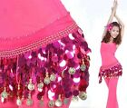 red dance pants - Indian Belly dance Hip Scarf waistband belt skirt GOLD Coin Sequin Belt OR PANTS