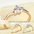 A1-R014 Solitaire Engagement Wedding Ring 18KGP Rhinestone Crystal Size 5.5-10