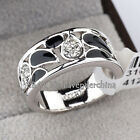 B1-R522 Fashion Black Glaze Band Ring 18KGP Rhinestone Crystal Size 5.5-9