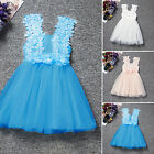 Girls Kids Floral Dresses Lace Casual Party Wedding Bridesmaid Princess Sundress