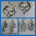 Aquarius, Capricorn Pisces Astrological star signs pewter charm quirky earrings