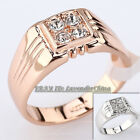 A1-R3005 Men's Solitaire CZ Rhinestone Crystal Band Ring 18KGP Size 6.5-11.5