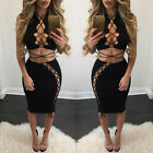 New Womens Crop Top & Skirt Sets Bandage Bodycon Evening Party Short Mini Dress